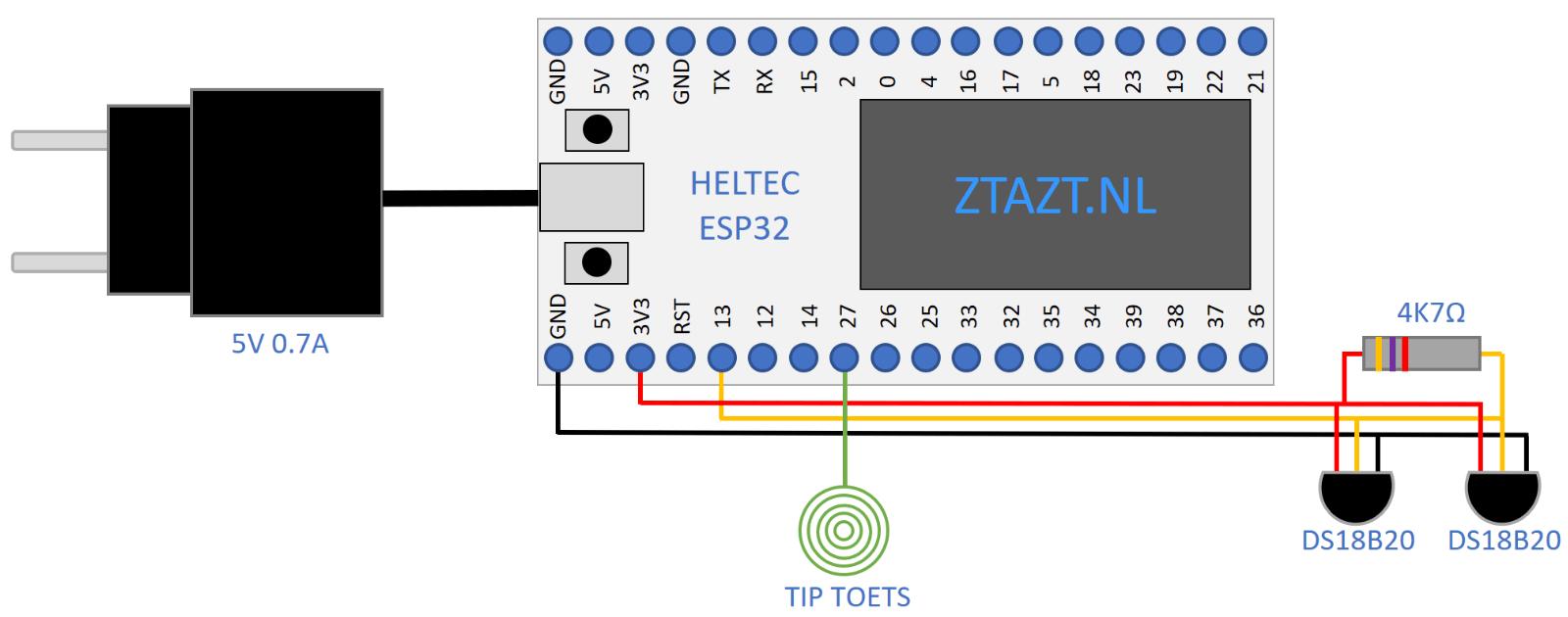 ESP32 aansluitschema