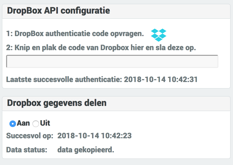 dropbox delen van data
